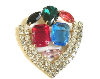 Vintage Multi Color Rhinestone Shield style Brooch or Pin