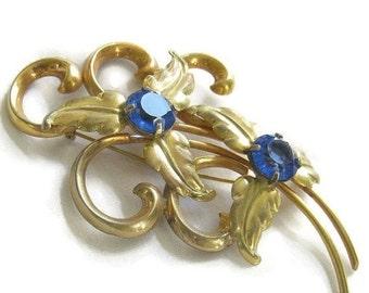 Vintage ART Deco Royal Blue Rhinestone Flower Brooch or Pin