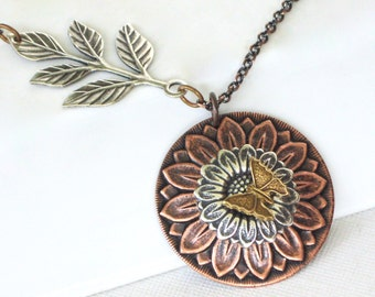 Sunflower Necklace - Mixed Metal Necklace, Flower Jewelry, Garden Necklace, Butterfly Necklace, Copper Necklace