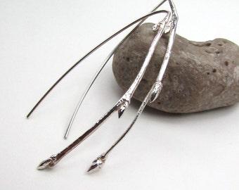 Casted Sterling Silver Twig Stick Long Earrings - Sculptural Nature Earrings - Silver Elegant Earrings - Long Statement Earrings - E-004