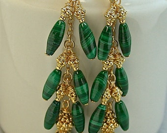 Vintage Malachite Carved Bead Dangle Drop Earrings, Bali 24K gold vermeil beads, Bali 24k gold vermeil ear wires, gold chain