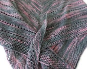 Shawl - Hand Knit Gray and Pink Triangular Shawl - Evening Wrap