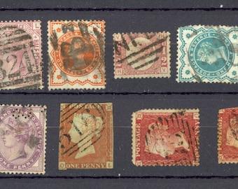 14 Great Britain Queen Victoria Stamps Perfin Scott 58 67 101 115 Etc Lot M43