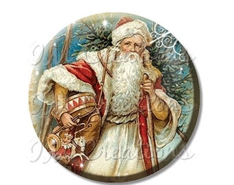 "30% OFF - Pocket Mirror, Magnet or Pinback Button - Favors - 2.25""- Vintage Christmas Victorian St. Nick MR203"