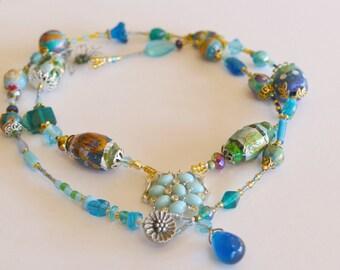 Turquoise vintage treasure beaded necklace