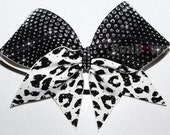 GORGEOUS Leopard Print Rhinestone Cheer Bow  by FunBows !