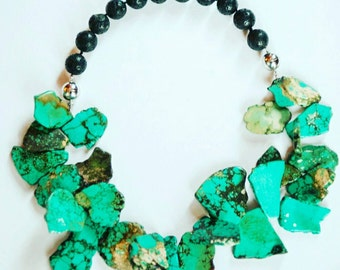 African jewelry, Turquoise necklace, Lava bead bracelet, Turquoise jewelry, Mother's day gift, Gift for mom, Mothers day gift, Gift for her