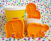 3 Mini Hallmark Animal Cookie Cutters | Lion Elephant Hippo Imprint Fondant Cookie Cutter