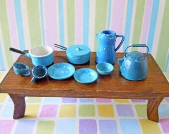 Vintage Dollhouse Kitchen Miniatures Blue Enamelware Pots Pans and Dishes