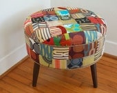 Patchwork furniture,round footstool,round ottoman,Midcentury Modern furniture