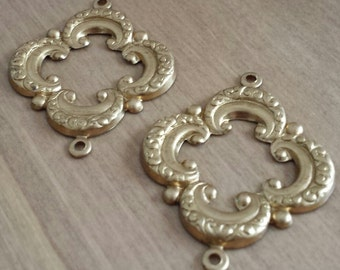 FREE SHIPPING CLEARANCE Sale -  Brass Four Leaf Fancy Connectors Two Hoops Vinte Style Hollow Back - Set of 2 - Destash Sale