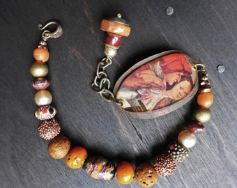 Bloom of Youth. Rustic assemblage bracelet in earthy orange brown.