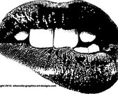 womans teeth biting lips mouth Digital Image Download art graphics for cards t shirts pins buttons etc