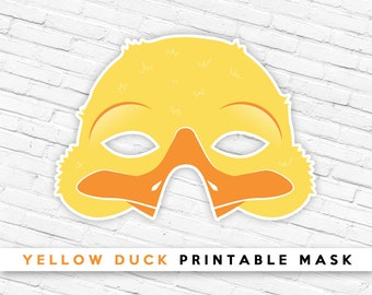 Yellow Duckling Printable Bird Mask, Yellow Duck Mask, Spring Easter Mask