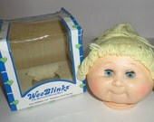 "Vintage Wee Blinks Doll Head - Blonde Pony Tail Doll Head - Open Close Eyes - Wee Blinks Doll Parts - 16"" Doll - Doll Making Parts - Vinyl"