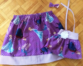 3 pcs matching girl and doll clothes, PICK YOUR FABRICS, girl gathered skirt + doll dress + bow hair clip, my doll and me, girl doll fashion