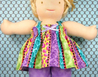"""Doll dress / top and pants set, stripes purple green teal yellow, 18"""" girl doll clothes, 10 13 15 inch Waldorf doll bitty babies twin dolls"""