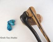 Hair Fork,Wood Hair Fork, RARE Black and White Ebony Wood Hairfork Mermaids Tail Grahtoe Handmade,Hair Stick,Wood Hair Sticks,Hairforks