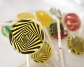Optical illusion lollipops by Vintage Confections