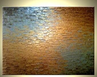 Original Abstract Gold Metallic Palette Knife Painting - Bronze Modern Textured Art by Lafferty - 36 x 48 - 22% Off Sale