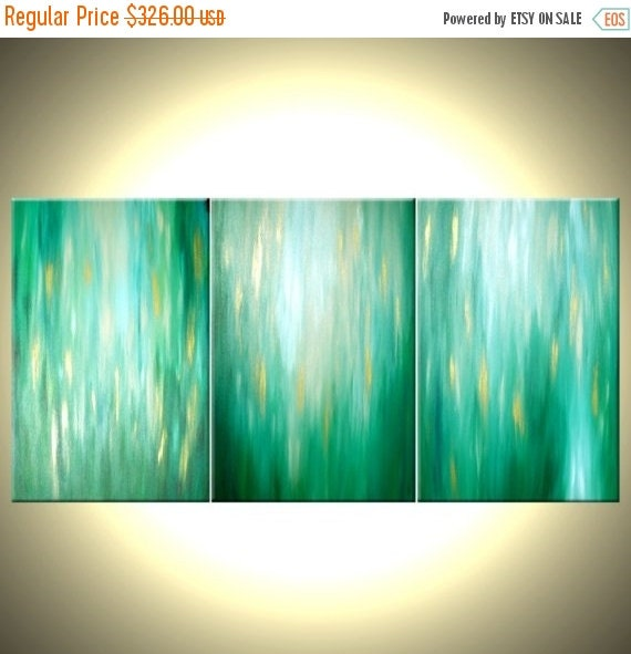 Original Green Abstract Painting, Large Green Original Painting Lafferty - 36X72, Sale 22% Off