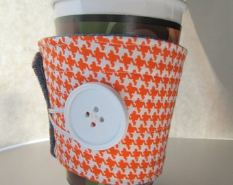 Winter Clearance fabric cup sleeve, reuseable coffee cup cozy, orange houndstooth