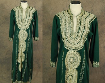 vintage 70s Caftan - Ethnic Metallic Silver Embroidered Green Maxi Dress 1970s Boho Hippie Dress S M L