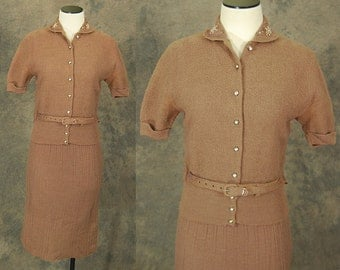 vintage 50s Sweater Dress - 1950s Brown Boucle Knit Suit - Wool Cardigan and Skirt Set Sz S