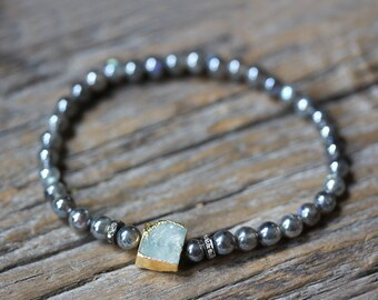 Aquamarine Diamond Labradorite Boho Stacking Bracelet, 22K Gold Diamond Pave Bohochic Bohemian Mystic Labradorite, Neutral Stacking Bracelet