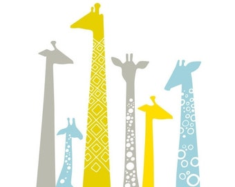 "SHOPWIDE SALE 12X12"" modern giraffe silhouettes giclee print on fine art paper. sky blue, chartreuse, yellow, gray."