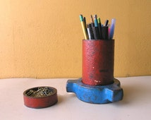 Industrial Pipe Pen Holder + hidden catch all dish, Pencil Cup, Upcycled Desk Accessory, Industrial Office Decor, Pen Cup, Pencil Holder