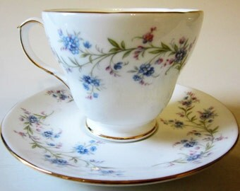 Vintage DUCHESS Tranquility Fine Bone China Teacup and Saucer England Floral ForGet Me Not Blue Pink  Gold Trim Ornate
