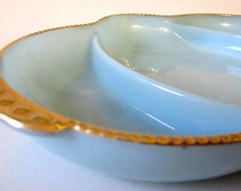 Turquoise Delphite Blue Anchor Hocking Fire King Relish Dish 22Kt Gold Trim Oven Ware USA Milk Glass Divided 3-Part