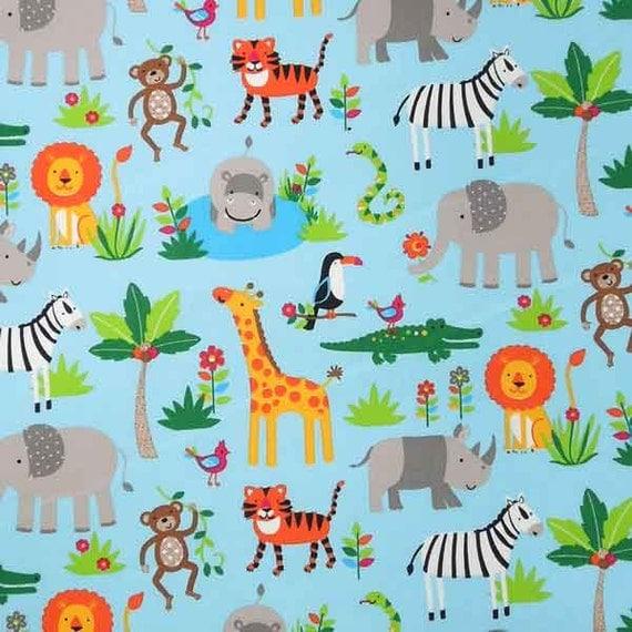Baby blue zoo animal cotton fabric kid 39 s light blue for Kids jungle fabric