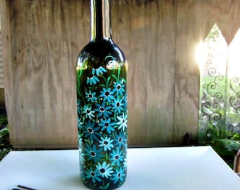 Incense Burner, Smoking Bottle, Recycled Green Bottle, Incense Holder, Hand Painted, Turquoise Flowers