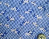 Vintage SCOTTY DOG fabric blue and white yardage