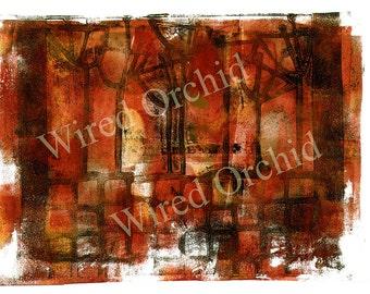 Laser Copy of Original Acrylic Artwork / Red, Black, Yellow Grunge Cityscape Design