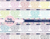 60% OFF SALE Alphabet Clipart Bundle Set Digital Scrapbooking Handrawn Alpha Clip Art Personal & Commercial Use - 20 Colors