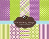 60% OFF SALE Digital Scrapbook Papers Personal and Commercial Use Purple Green and Cream Medley