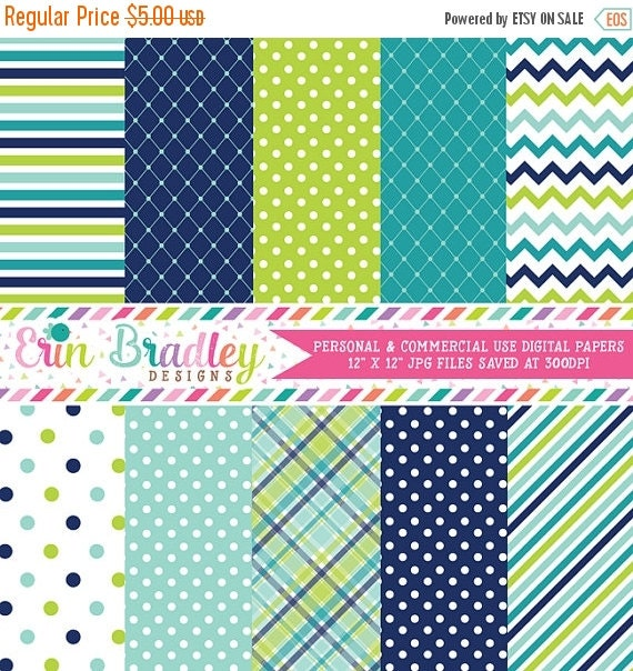 60% OFF SALE Digital Paper Pack Personal and Commercial Use Blue and Green Medley