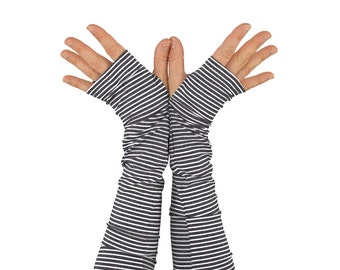 Arm Warmers in Grey and White Stripes - Slouch Style - Fingerless Gloves - Sleeves
