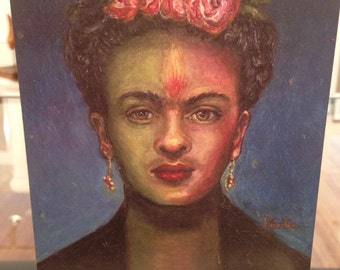 """The Passion of Frida Kahlo"""" Blank Art Card  -  Ponte's Historic Figures"""