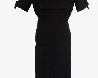 1950's Vintage Black Crepe Layered Wiggle Dress