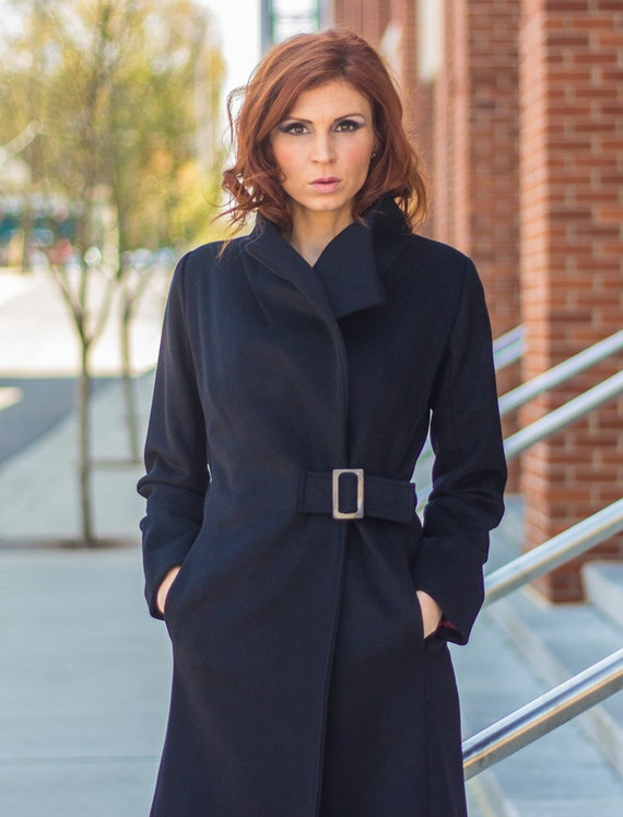 Buttery Black Cashmere and wool buckled wrap women's coat