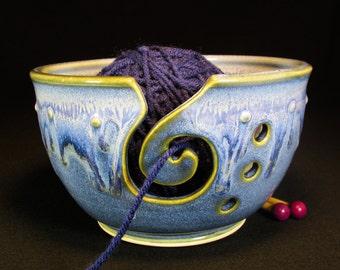 Yarn Bowl - Crochet Bowl - Yarn Holder - Pottery Yarn Bowl - Blue Knitting Bowl - In Stock