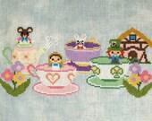 Teacups Cross Stitch Pattern-Alice in Wonderland, Disney Ride Inspired Fan Art: PDF Instant Download