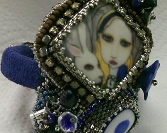 Alice and the White Rabbit Cuff