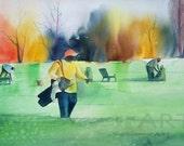 On the Green Watercolor Print, African American Art, Contemporary Home Decor Art, Golf Wall Art, Black Golfer, Golf Decor, Gift for Him, Art