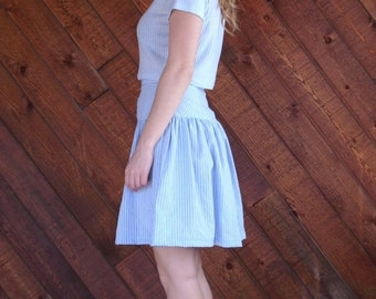 extra 25% off SALE ... Prairie Pinstripe Striped Mini Skirt - Vintage 70s - MEDIUM M