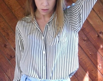 30% off ... Black and Cream Striped SILK Button Down Blouse - Vintage 80s - XS S